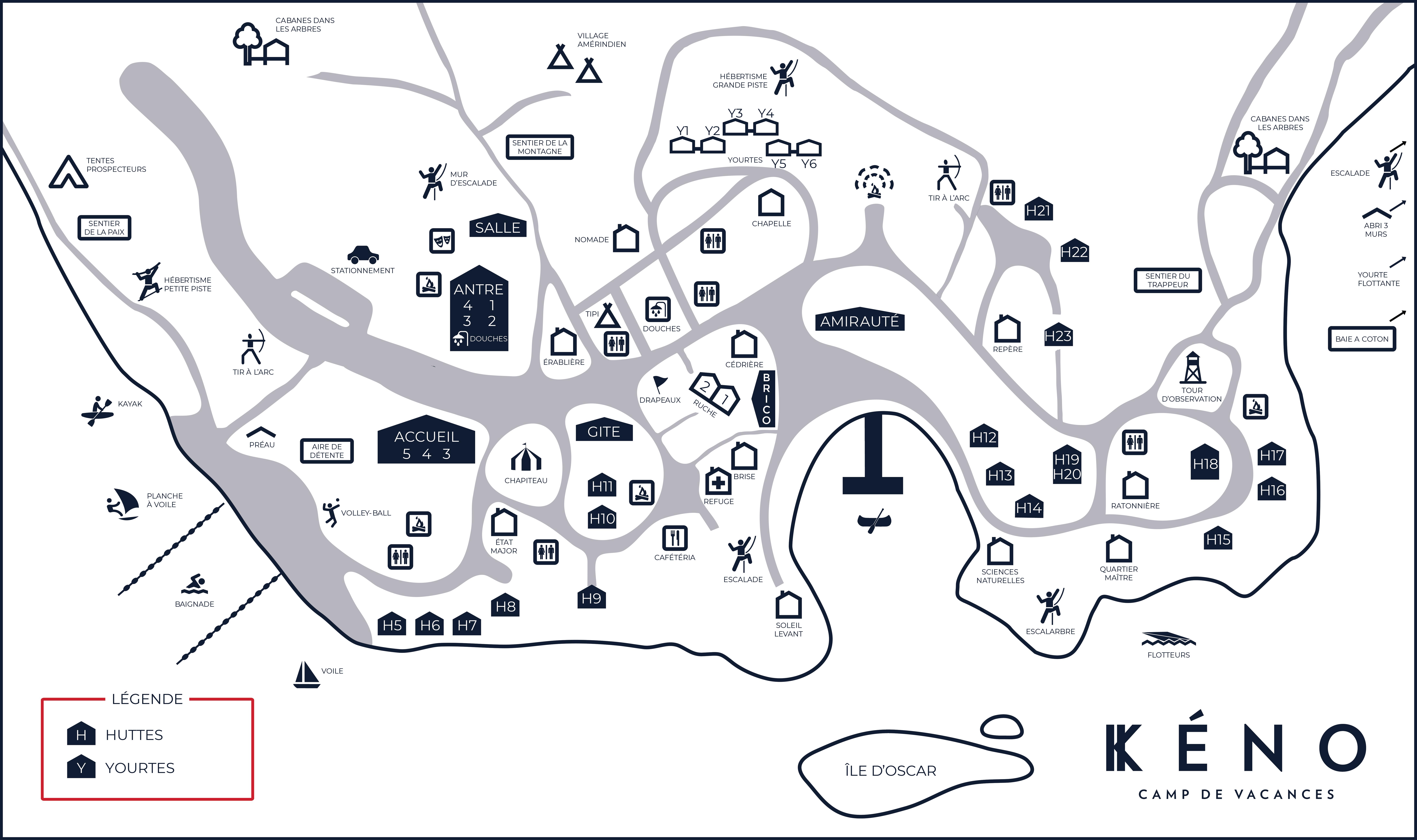 Plan du site du camp de vacances - 2018